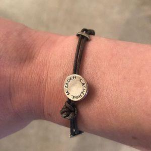 Olive green string and metal bracelet